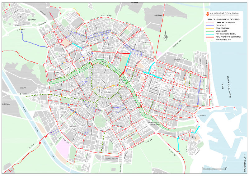 Mapa Carriles Bici Valencia 2015